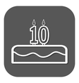 birthday cake with candles number 10 vector image