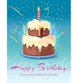 Happy birthday background with tasty cake and vector image