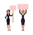 two girls women businesswomen on strike holding vector image