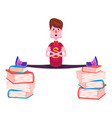a cheerful schoolboy in red t-shirt and jeans sits vector image