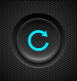 Black button with blue repeat sign on carbon vector image