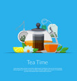 cartoon tea kettle and cup in paper pocket vector image vector image