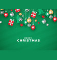 christmas card 3d paper holiday icons vector image