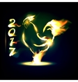 cock on fire Chinese calendar vector image