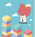concept cartoon businessman businessman putting vector image vector image