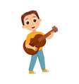 cute boy playing guitar at music lesson vector image vector image