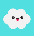 cute cartoon kawaii white gray cloud showing vector image vector image