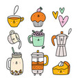 cute coffee and tea cartoon characters set vector image