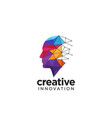 digital abstract human head logo for creative vector image