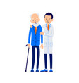 doctor and patient young doctor hugs and supports vector image vector image