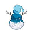 double exposure layered paper cut snowman vector image vector image