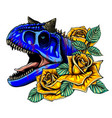 dragon head with roses and flower vector image