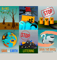 ecological problems flat cards vector image vector image