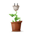 flower and electric plug - cartoon vector image vector image