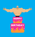 happy birthday cake stripper from cake vector image vector image