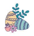 happy easter day painted eggs ornament flowers vector image