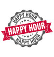 happy hour stamp sign seal vector image vector image