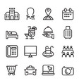 hotel icon set in thin line style vector image