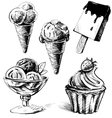Ice cream and cake set vector | Price: 1 Credit (USD $1)