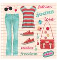 Jeans fashion set vector image vector image