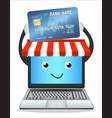 laptop online store with credit card vector image vector image