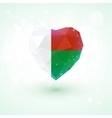 Madagascar flag in shape diamond glass heart