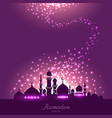 mosque silhouette in night sky and magic light vector image vector image
