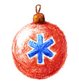 Pencil drawn vintage christmas bauble with vector image vector image