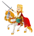 Prince Charming on a white horse vector image vector image
