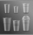 realistic detailed 3d plastic cups template mockup vector image