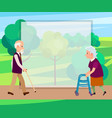 retired man with walking stick and senior woman vector image vector image