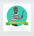 robber in mask with crowbar property protection vector image vector image