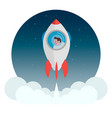 rocket with a man flying into space vector image