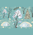 seamless winter pattern with merry christmas tree vector image