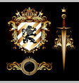 set heraldic elements shield and saber 3d