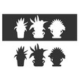 set of silhouettes of houseplants in black and vector image