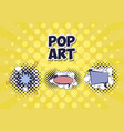 set of speech bubbles with rays pop art style vector image vector image