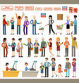 set people in a supermarket on a white vector image vector image