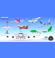 set realistic airplane mock up or landing vector image