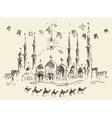 skyline mosque caravan camels ramadan kareem drawn vector image