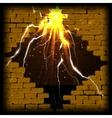 stone brick wall frame and flash diamond vector image vector image