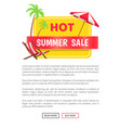 summer hot sale web poster push buttons palm trees vector image vector image