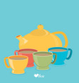 teapot and color cups eps 10 vector image vector image