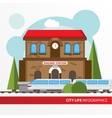 Train station building icon in the flat style vector image