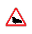 walrus warning sign red seal hazard attention vector image vector image