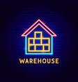 warehouse neon label vector image