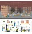 Warehouse worker taking package in shelf logistic vector image