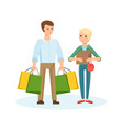 young couple walking through the mall vector image vector image