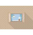 Window frame on brick background vector image
