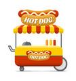 hot dog street food cart colorful image vector image